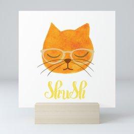 Shush - Hipster Cat in Glasses Mini Art Print
