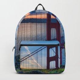 Amazing Hillside View Golden Gate Bridge At Romantic Evening Red San Francisco California Ultra HD Backpack