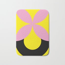 Four-Leaf-Clover in pink, hiding a Black Circle in a yellow background Bath Mat