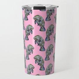 Pink Watercolor Manatee Pattern Travel Mug