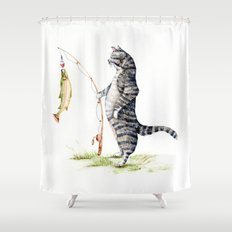 Cat with a Fish Shower Curtain