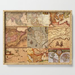Old maps Serving Tray