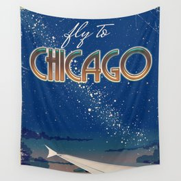 Fly to Chicago Wall Tapestry