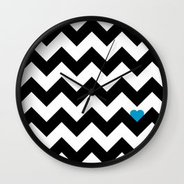 Heart & Chevron - Black/Blue Wall Clock
