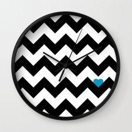 Heart & Chevron - Black/Blue Wall Clock