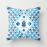 diver Throw Pillows featuring Diver by parallelish