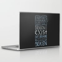 coraline Laptop & iPad Skins featuring Dragons Can Be Beaten by astoldbycaro