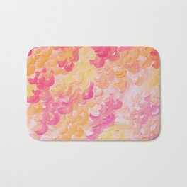 PINK PLUMES - Soft Pastel Wispy Pretty Peach Melon Clouds Strawberry Pink Abstract Acrylic Painting  Bath Mat