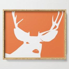 Orange Deer with Antlers Silhouette Serving Tray