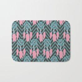 Bohemian Teal Pink Dreamcatcher Chevron Pattern Bath Mat