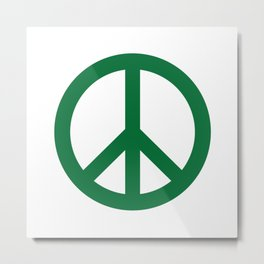Peace (Olive & White) Metal Print
