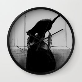 Black Window Cat Wall Clock