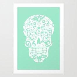 mint hipster skull Art Print
