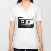cassette V-neck T-shirts featuring CASSETTE by by INK! - Sandie Dolleris Thomsen