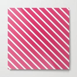 Pink Freesia Diagonal Stripes Metal Print