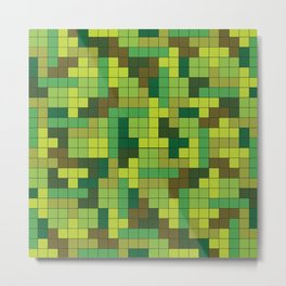Tetris Camouflage Forest Metal Print