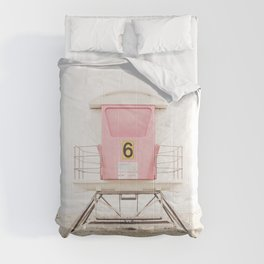 Beach photography pink tower Comforters