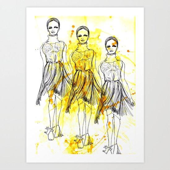 3 Yellow Splash Dresses Art Print