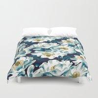 cook Duvet Covers featuring Mount Cook Lily (Night) by Andrea Stark