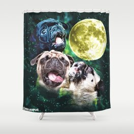Howl at the Moon Pug Shower Curtain