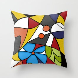 Abstraction. Curves and bends. Color mosaic . Throw Pillow