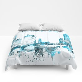Montreal Monochrome Blue Skyline Comforters