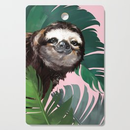Sneaky Sloth With Banana Leaf in Pink Cutting Board