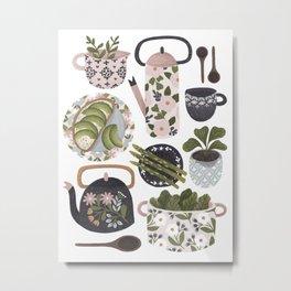 Plates, Pots & Tea Metal Print