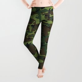 Green and Brown Camouflage Pattern Leggings