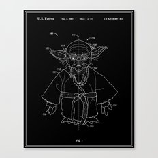Yoda Toy Patent - Black and White Canvas Print