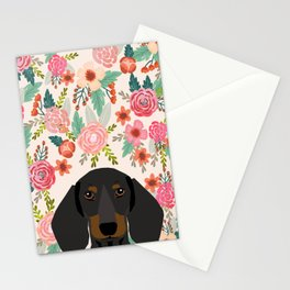 Dachshund floral dog head cute doxie must have pure breed weener dog gifts Stationery Cards