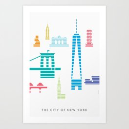 New York Skyline WTC Poster Color Art Print