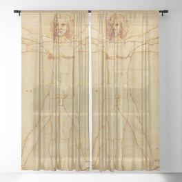 VITRUVIAN MAN - LEONARDO DA VINCI Sheer Curtain