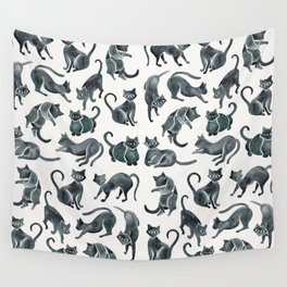 Cat Positions – Black Palette Wall Tapestry