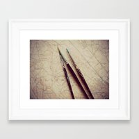 journey Framed Art Prints featuring Journey by messy bed studio