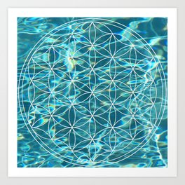 Flower of life in the water Art Print