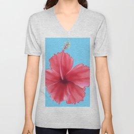 Puerto Rican Hibiscus flower print Unisex V-Neck