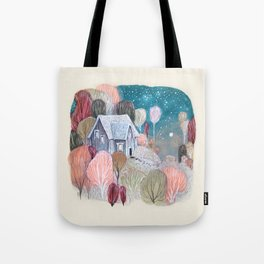 Cottage of October Trees Tote Bag