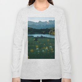 Sunrise at a mountain lake with forest - Landscape Photography Long Sleeve T-shirt