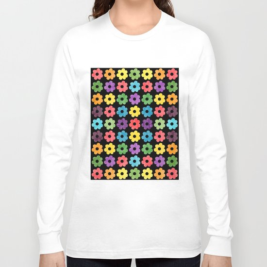 Colorful Floral Pattern V Long Sleeve T-shirt