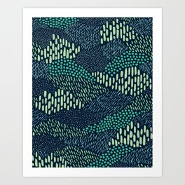 Dashes and dots in blue-green // abstract pattern Art Print