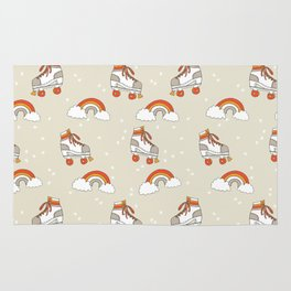 Rollerskates nostalgia pattern print cute 80s rainbows retro style by andrea lauren Rug