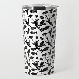 Block Print Marigold Floral in Black + White Travel Mug
