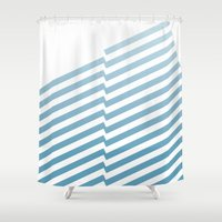 bands Shower Curtains featuring Blue Bands by blacknote