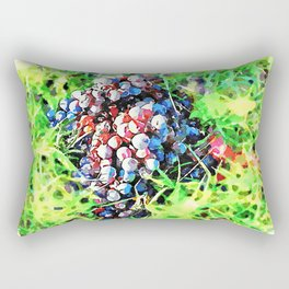 Hortus Conclusus: bunch of black grapes in the grass Rectangular Pillow