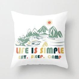 Camping. Eat. Sleep. Camp Throw Pillow