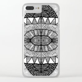 Jet Black Tangled Mania Pattern Doodle Design Clear iPhone Case