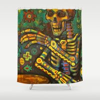 drums Shower Curtains featuring Death Drums by Sherdeb Akadan
