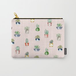 Polka dot succulents - blush pink Carry-All Pouch
