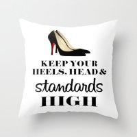 heels Throw Pillows featuring Heels & Standards by LuxuryLivingNYC